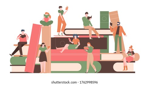 People with books. Reading characters on big books pile, literature fans with huge book stack, reading woman and man isolated  illustration. People with book reading, reader studying