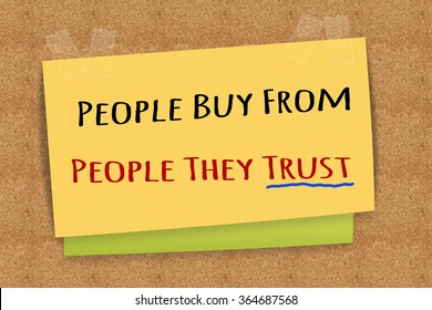 """People Buy From People They Trust "" on sticky note"
