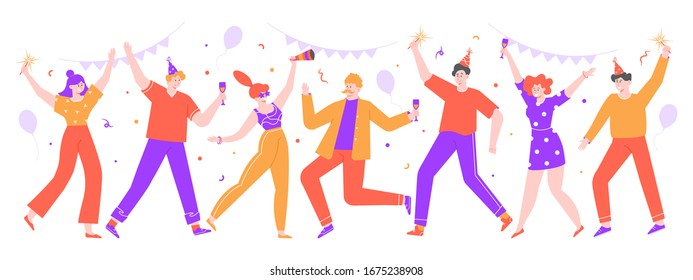People celebrating. Happy celebration party, joyful women and men celebrating together with balloons and confetti. Dance celebration party  isolated illustration. Birthday, festive event