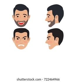 People characters. Sad and happy man avatar user pic. front and side view of upset and laughing person. Male head with disappointed and smiling facial expression. Adult profile icon.
