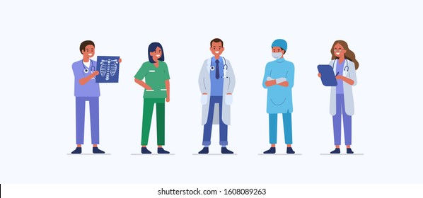 People characters work in Hospital. Nurse, doctor therapist, surgeon and other medical staff standing together. Male and female medical characters set. Flat cartoon illustration.