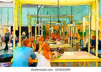 people in city cafe, watercolor style