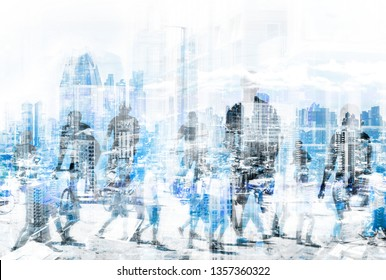 people in the city concept - abstract city skyline and people walking  double exposure