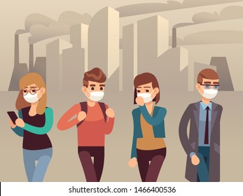 People city smog. Man woman protective face masks industrial smog dust pollution toxic air harmful environmental, masked person flat concept