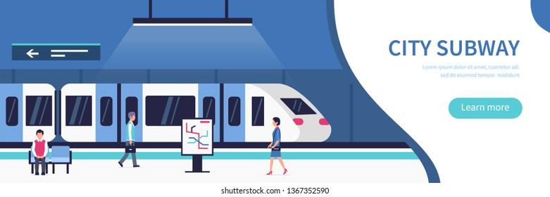 People in city subway. Passengers at subway station platform.  Flat style illustration.