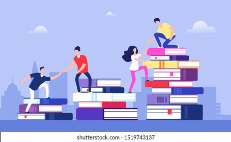 People climbing books. Business success, education level and staff and skill development concept