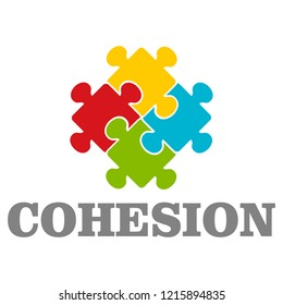 People cohesion logo. Flat illustration of people cohesion logo for web design