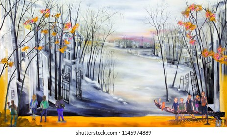 People in cold town, oil painting artwork