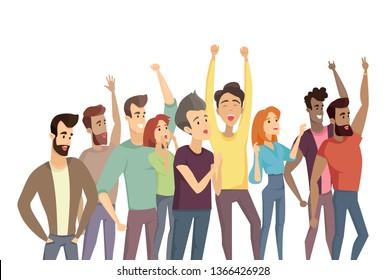 People crowd and pastime humans raising hands up demonstration throng men women shouting smiling having fun raster illustration on white background