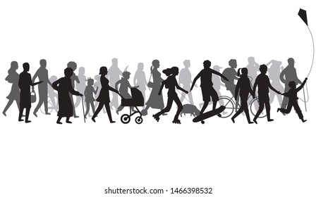 People crowd silhouette. Group of person with shadows walk. Family and children, couple together, bicycle. Passers illustration