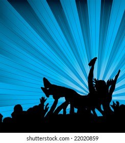 people crowd surfing at a concert with a blue and black background