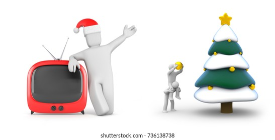 People decorate the Christmas tree and person with festive hat and TV. New year and christmas comes. 3d illustration