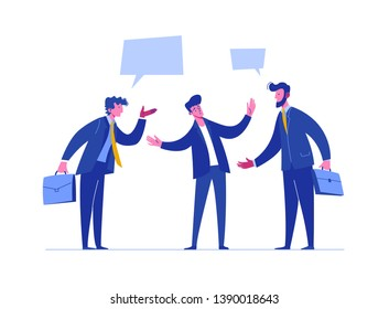 People Discussion Solve Relationship Conflict. Business Risk Time. Person Arguing Different Problem. Team Confrontation Competitor. Concept Stress Resolution Flat Cartoon  Illustration
