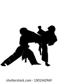 people doing karate silhouette