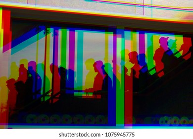 People up and down on the airport stairs. Glitch art. Color screen effect.