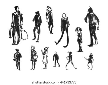 People Drawn With Ink. City Life. The Human Figures In Motion. Hurrying People. Illustration Drawn By Hand. People Silhouettes Isolated On White Background. Men And Women.