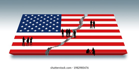 People are engaged in discussions as they stand on a USA flag that has been split down the middle by a crack. Americans discuss the growing divide in USA politics.This is a 3-d illustration.