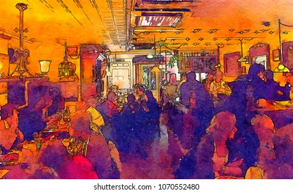 people in evening cafe, watercolor style