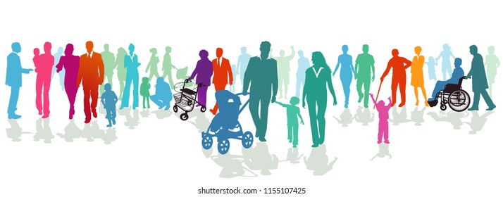 People and families on the street, illustration