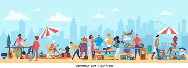 People in flea market illustration. Cartoon flat man woman buyer characters shopping second hand clothes on garage sale, vendors sell vintage furniture, jewelry in bazaar marketplace background
