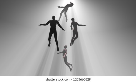 People floating, rising into light beams , heavens, space. Astral plane. Silhouette, shadow figure. 3d rendering