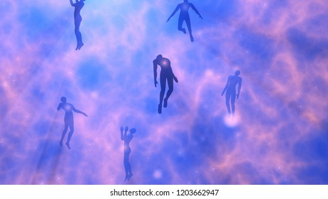 People floating, rising into space , heavens. Astral plane. Silhouette.3d rendering