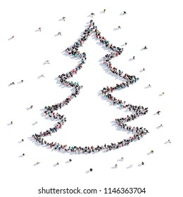 A lot of people form Christmas tree, children's drawing . 3d rendering.