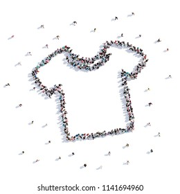 A lot of people form T-shirt, children's drawing . 3d rendering.