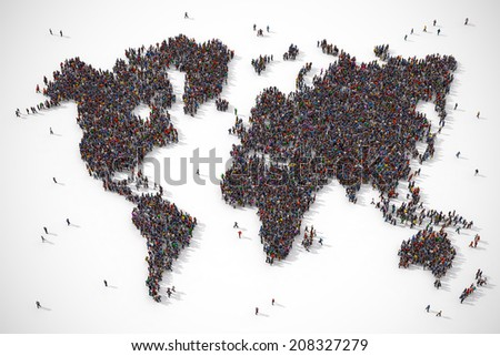 People forming the earth map shape on white background