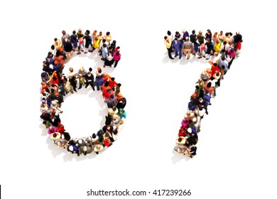 People forming the shape as a 3d number six (6) and seven (7) symbol on a white background. 3d rendering
