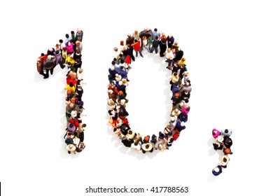 People forming the shape as a 3d number ten (10) and a comma symbol on a white background. 3d rendering . Part of a number people series that can be used also as an alternate number 1 or 0