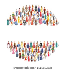 People Friendship. International Day of the World Indigenous Peoples. Flat circle concept illustration
