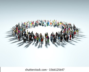 People gather at the center of the circle. Enthusiastic people. Organization. 3d rendering 3d illustration.