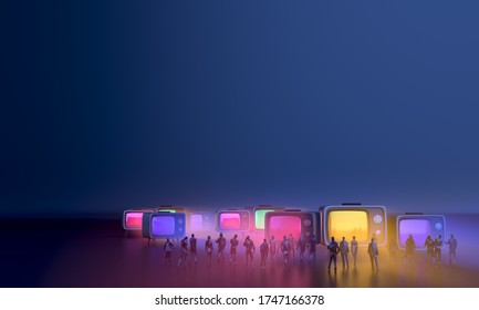 People gather to watch news, situations, events from TV shows together. Situation, urgent, events In people's society together. People join the conversation in an emergency situation. 3D illustrator