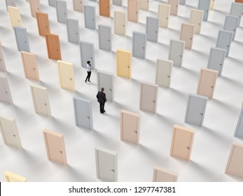 people get lost among the doors, 3d illustration