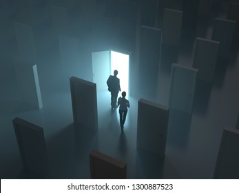 people at the glowing door, 3d illustration
