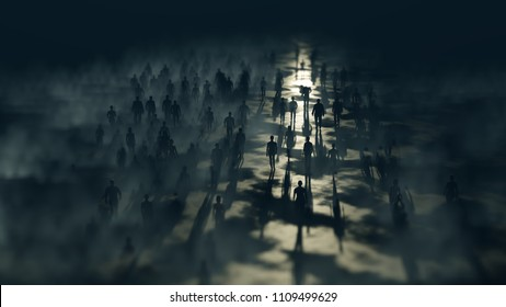 People go to the night. Blue fog. The crowd is moving into the distance. Throng goes in one direction. Mysterious world. Way to paradise. Lens Effect tilt shift. Defocused background. 3D rendering