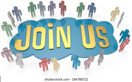 People group around Join Us invitation for social or business website icon