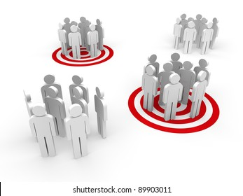 People in group stand in red target