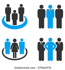 People Groups glyph icons. Style is flat bicolored symbols painted with blue and gray colors on a white background, angles are rounded.