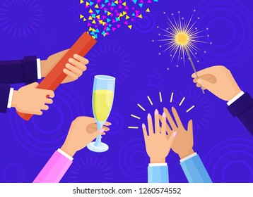 People hands with champagne glass, big slapstick full of confetti and bright sparkler isolated cartoon flat raster illustration on blue background.