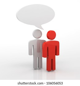 People having discussion, blank speech bubbles. One red and one white man