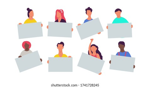 People holding placard set illustration cartoon blank banner. Business group concept message poster protest. Empty isolated board icon. Crowd human demonstration social activist team showing