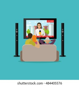 People at home watching city news on tv. Concept illustration in flat style design.