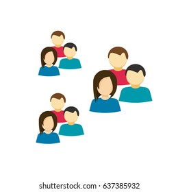 People icon, flat cartoon style group of people, idea of team, social members, crowd, lots of persons clipart
