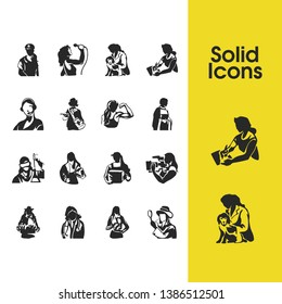 People icons set with investigator, fitness and drawing elements. Set of people icons and firewoman concept. Editable  elements for logo app UI design.