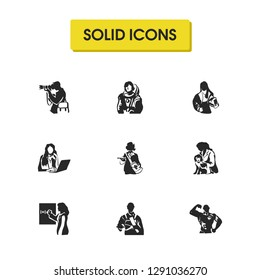 People icons set with vet, businesswoman and firefighter elements. Set of people icons and paparazzi concept. Editable  elements for logo app UI design.