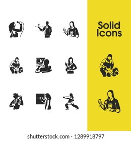 People icons set with vocalist, actress and programmer elements. Set of people icons and servant concept. Editable  elements for logo app UI design.