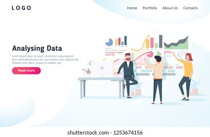 People interacting with charts and analysing statistics. data visualisation concept illustration. Team analysing tool business concept. Teamwork software for time management interface
