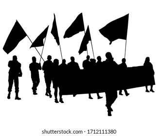 People of with large flags. Isolated silhouettes of people on a white background